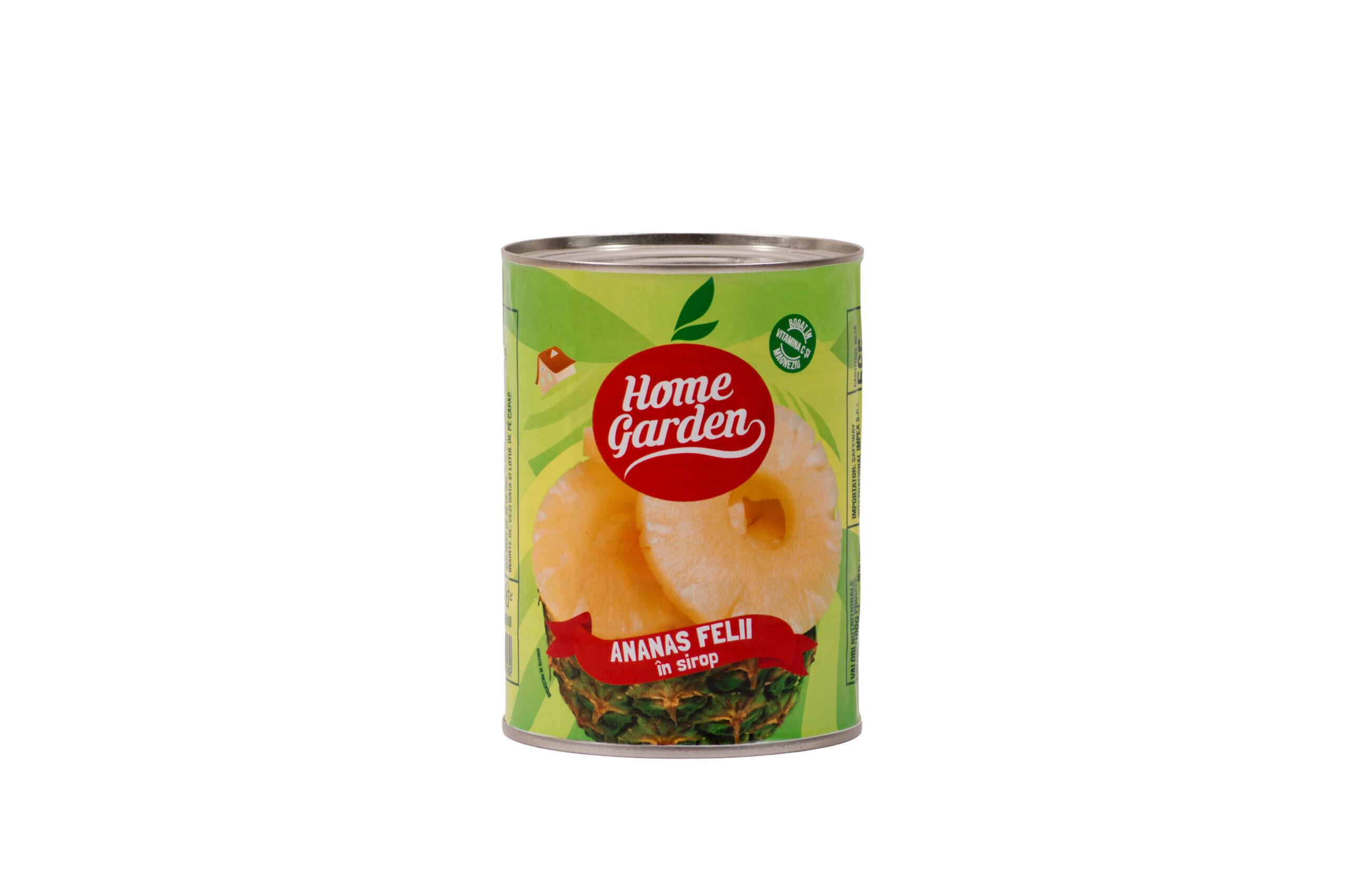 HOME GARDEN Ananas felii în sirop 565g