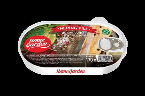 HOME GARDEN Hering file în sos tomat cu lamâie și piper 170g